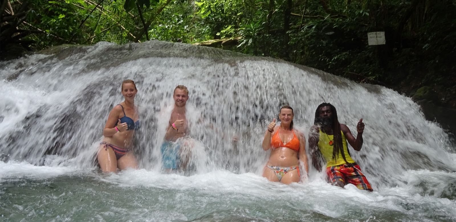Tourists at Mayfield Falls Rappa Rasta Tours Jamaica