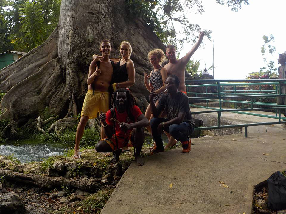 travellers have fun at roaring River with Rappa Rasta Tours Jamaica