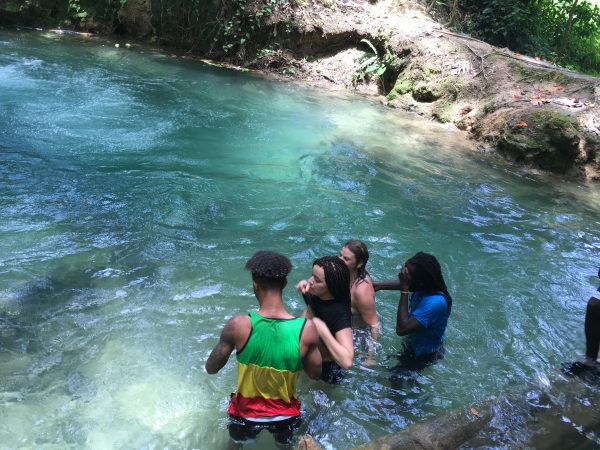 Exploring a river with a tour guide in Jamaica